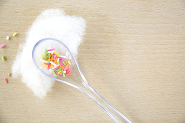 colorful sugar in spoon