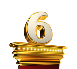 Number Six on a golden platform over white