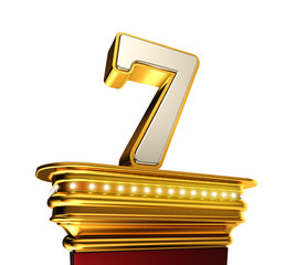 Number Seven on a golden platform over white
