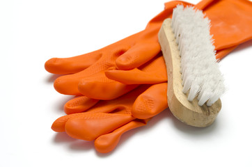 wash brush and gloves