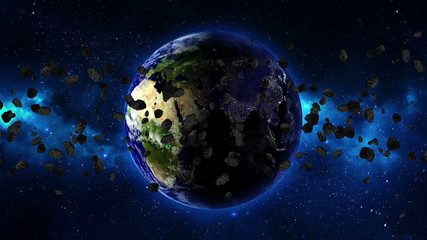 Planet Earth with asteroid in universe. LOOP