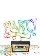 Party, Einladungskarte, Kassette, 80er, Retro, Konfetti, Flyer