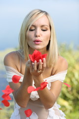 girl with rose petals