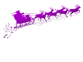 Weihnachtsmann, Rentierschlitten, Rentiere, Rudolf, fliegend, 2D