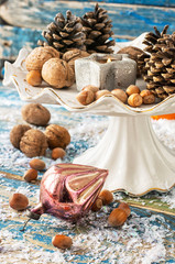 Christmas decorations with nuts and toys