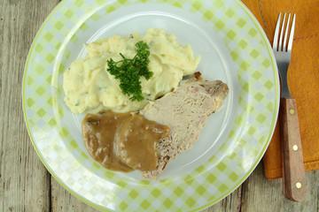 rôti de porc et purée