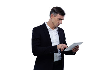 Young businessman using tablet computer over white background