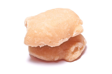 The palm sugar or Jaggery on white background
