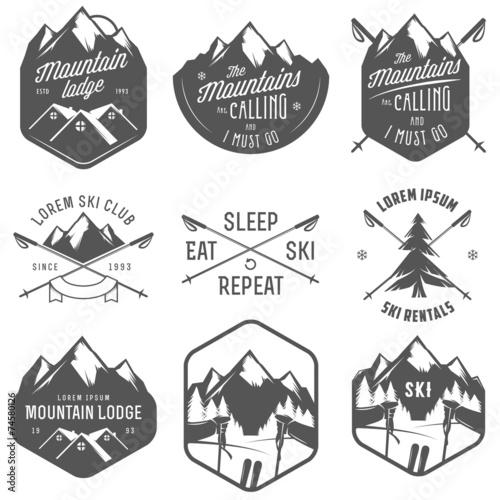 Fototapeta Set of vintage skiing labels and design elements