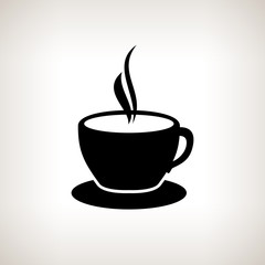 Silhouette cup of tea , cup of coffee , vector illustration
