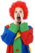 Lustiger Clown ruft und schreit