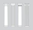 black and white line drawing. columns Vector set - 74580560