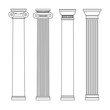 isolated vector set of columns. line drawing. - 74580591