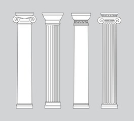 black and white line drawing. columns Vector set