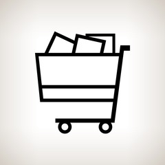 Silhouette cart on a light background , vector illustration