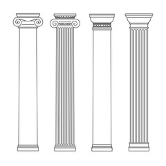 isolated vector set of columns. line drawing.
