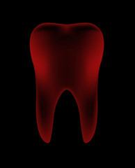Illustration of Red Teeth in dark background