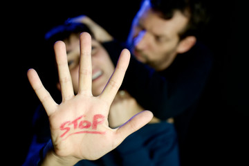 Young woman being abused domestic violence