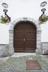 Closed wooden door of house; Zagreb; Croatia