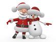 canvas print picture - 3d Santa Claus with a snowman