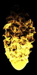 Palla di fuoco su sfondo nero