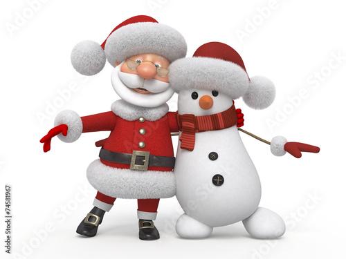 canvas print picture 3d Santa Claus with a snowman