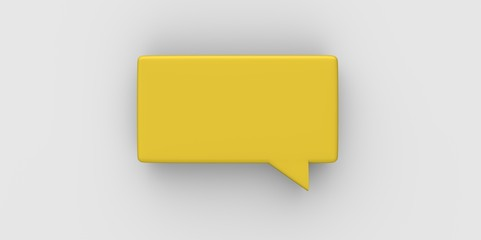 yellow 3D Empty speech bubble on a grey gray background