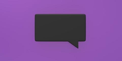 3D black Empty speech bubble on a background purple