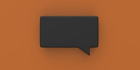 3D black Empty speech bubble on a background orange