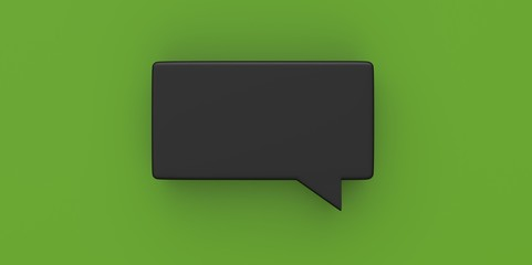 3D black Empty speech bubble on a background green