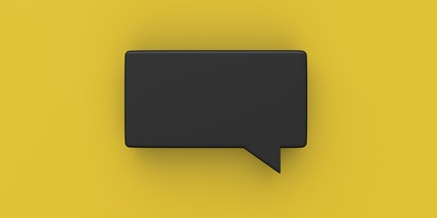 3D black Empty speech bubble on a background yellow