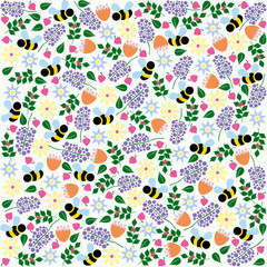 Vector floral and bee pattern