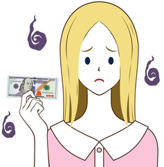 100ドルを持つ女性 困り顔