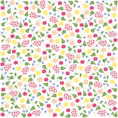Vector floral and leaf pattern