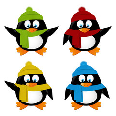 Set of funny cartoon penguins