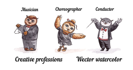 Owls creative professions. Vector watercolor. Birds artists.