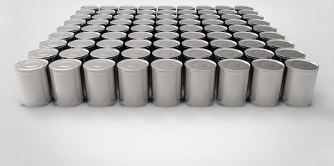 3D empty cans on white background paint