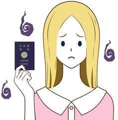 パスポートを持つ女性 5年用 困り顔