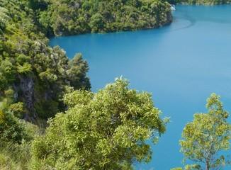 Vivid blue lake in Mount Garbier in Australia