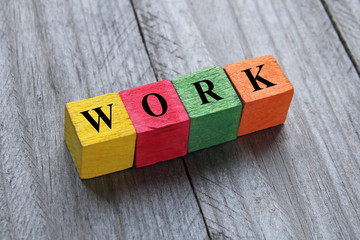 work word on wooden cubes