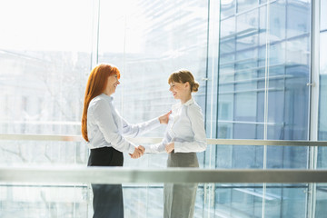 Happy businesswomen shaking hands in office