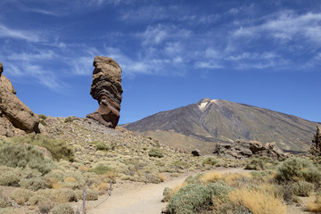 Cinchado rock and Teide volcano peak in national park, Tenerife.