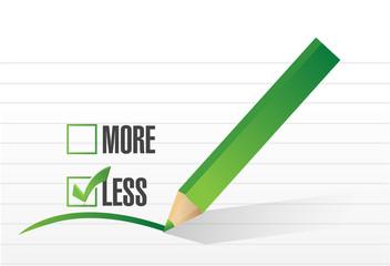 less checklist selection illustration