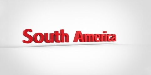 3D red  South America Word Text on white background