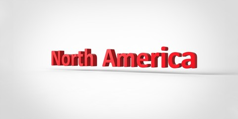 3D red North America Word Text on white background