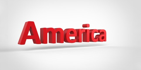 3D red America Word Text on white background