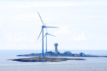 Offshore wind power generators.
