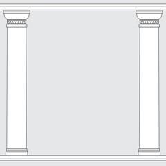 black and white line drawing. Doric order columns frame