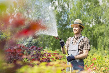 Smiling man watering plants at garden