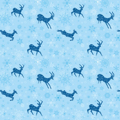light blue seamless christmas background with blue goats - vecto